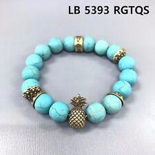 Antique Gold Finish Pineapple Turquoise Stone Beaded Stretchable Bangle Bracelet