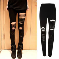 Sexy Black Punk Ripped Torn Slashed Cut Striped Leggings Pants Gothic Club new.