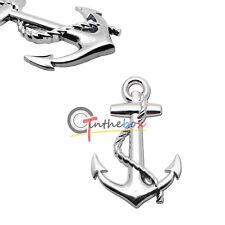 (1) 3D Silver Metal Boat Anchor Shape Auto Rear Lid Fender Trunk Sticker Emblem