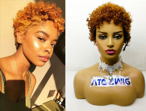 Sexy Girl Cosplay Boy Brown Ombre Blond Synthetic Hair Short Afro Curly Wave Wig