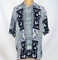 Vintage Made in France Michel Axel Paris Persian Floral Camp Noveau Shirt VI XL