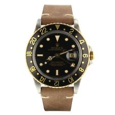Rolex GMT Master Steel Two Tone 40 mm Black Nipple Automatic Watch 16753 Mint