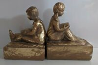 Vintage Gold Leaf Bookends Boy Girl Reading Heavy Korea