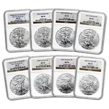 2006-2015 8-Coin Burnished Silver Eagle Set Ms-70 Ngc - Sku#103474