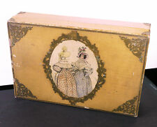 Antique French wooden jewelry box, litho of ladies in old costumes Victorian?