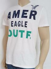 American Eagle Outfitters AEO Big Logo White V-Neck T-Shirt New NWT Mens Large