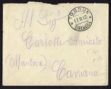 STORIA POSTALE Colonie LIBIA 1912 Lettera da Tobruk a Cavriana (GB1)