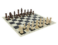 "Tournament Staunton 3,5"" Chess Set - Chess pieces 3,5"" + Black Roll Up Board 20"""