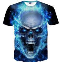 Men's Skull 3D Print Summer Casual Short Sleeve Crew T Shirt Graphic Tee Tops
