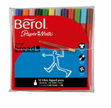 Berol Colouring Fibre Tip Pens With Washable Ink 12 Assorted Colour Broad S0375990