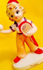 CRAZY CUTE! Nanco Friday Day of the Week Girl Figurine Vintage Rare Sale Tennis