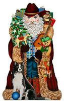 Needlepoint Handpainted Amanda Lawford CHRISTMAS Western Santa 15""