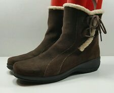 Clarks Brown Suede Zip Water Resistant Warm Winter Boots Womens Size 8