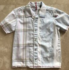 Boys Hawaiian Surf Short Sleeve Snap Button Shirt Plaid Surfer Beach Top Size 5