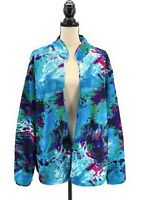 Womens Artsy Jacket Blue Plus Size 2X Open Front Crinkle Texture Lightweight