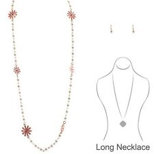 Long Gold Pearl Necklace With Peach Flowers and Matching Earrings