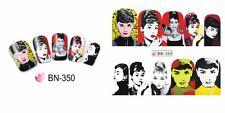 Full Wrap Water Transfers Nail Art Stickers Decals POP POW Audrey Hepburn BN350
