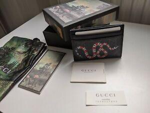 GUCCI Kingsnake print black GG Supreme card case, card holder, wallet