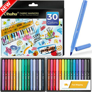 Fabric Markers Pen, Ohuhu 30 Colors Permanent Fabric Paint Marker Pens for DIY C