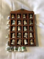 Collectables 30 x Thimbles with display case