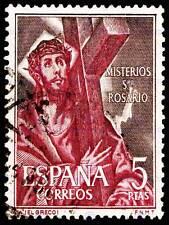 POSTAGE STAMP SPAIN 5 PESETAS JESUS CROSS BEARING CRUCIFIXION PRINT BMP11088