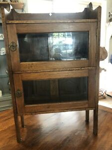 Vintage 20th Century Oak & Glass Barristers Lawyers Bookcase /shelves