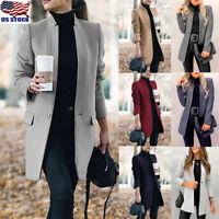 Women Winter Trench Coats Blazer Ladies Wool Lapel Long Jackets Outwear Parka US