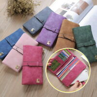 Women Scrub PU Leather Long Wallet Lady Fashion Card Holder Purse Clutch Handbag