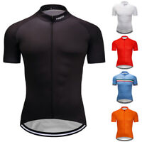 Mens Summer Cycling Jersey Solid Bike Riding Tops Clothing Shirt Garments Outfit