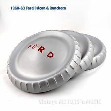 """1960-1963 FORD Poverty-Dog Dish Hubcaps Silver 9.66"""" dia Set of 3 - C0DZ-1130"""