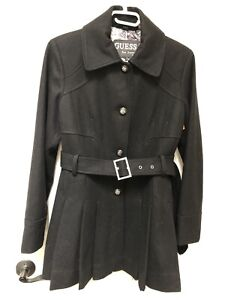 Guess Los Angeles Wool Blend Pleated Coat Large