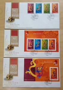 Hong Kong 2000 Zodiac Year of the Dragon, 4v Stamps MS & imperf MS, set of 3 FDC