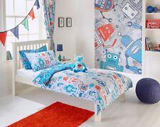 Toddler Boys Grey and Blue Robots Polycotton Duvet Cover Set 120cm by 150cm