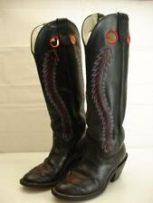 "Mens sz 9 EE EW 20"" Tall Red Black OLATHE USA 6961 Buckaroo Cowboy Boots Leather"