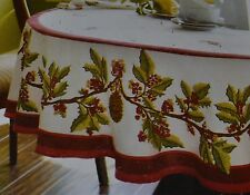 Christmas Holly Berry Fabric Tablecloth~8 Napkins~Pinecone~White~70R~Holiday~NEW