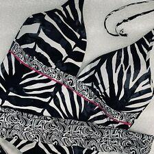 38B XL Kenneth Cole New York Tankini Halter Top Bikini Bottom Zebra Black White