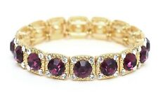 New Stunning Purple Crystal Gold Tone Stretch Bracelet Prom Pageant Bridesmaid