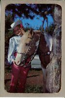 Postcard NY Adirondacks Dude Ranch Woman with Horse Cowboy Hat c1960's -511