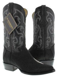 Mens Western Cowboy Boots Black Real Stingray Diamond Skin Leather J toe