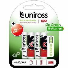 4 x Uniross HYBRIO AAA 800 mAh Rechargeable Batteries, Pre Charged NiMH HR03