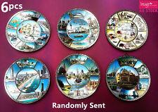 6x Australian Souvenirs Round Display Plates Australia Cities Design Random Send