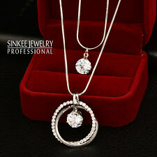Fashion Women Crystal Double Circle Pendant Long Necklace 2 Layers Chain MY389