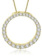 I1 G Eternity Circle Pendant Necklace 0.80 Ct Natural Diamond 14K Yellow Gold