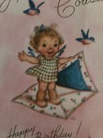 Vtg Rust Craft Birthday Greeting Card Angel Envelope Bluebird (M.Cooper?) 1940s