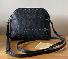 Michael Kors Adele Dome Black Pebbled Leather Micro Studs Small Crossbody Bag