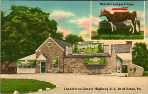 C51-7143, WORLD'S LARGEST COW, LINCOLN HIGHWAY U. S. 30 AT EXTON, PA. Post Card.