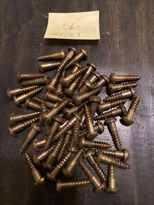 """Lot of (56) #12 x 1"""" Vintage Round Head Slotted Wood Screws Solid Brass"""