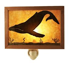 Whale Mica Night Light - Handmade In Oregon - Sepele Wood Frame - Plug In