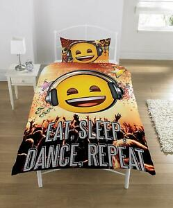 6 X Emoji Licensed Single Duvet Cover and Pillow Case, Eat, Sleep, Dance, Repeat