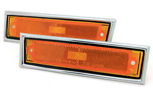NEW Front Side Marker Lights w/Chrome Trim 81-87 GM C/K TRUCK / Corner Lamp Pair